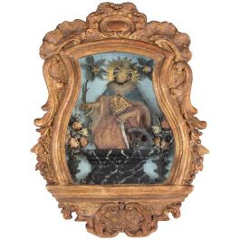 18th Century Icon, Wax Portrait Giltwood Frame