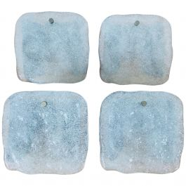 Set of 4 Frosted Square Ice Glass Wall Lamps by Kalmar, Austria, 1960s