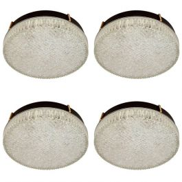 Set of Four N. Leuchten Flush Mount Glass Pendants