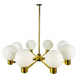 Rare Midcentury 8-Arm Brass and Opaline Glass Chandelier, 1960s