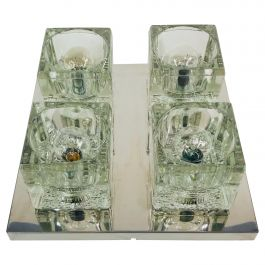 Frosted Ice Glass Cube Flush Mount by Peill & Putzler, 1970s