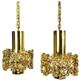 Pair of Gilt Brass and Crystal Glass Chandeliers by Palwa, Germany, 1970s