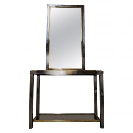 Brass and Chrome Console Table with Mirror, 1970s