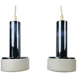 Pair of Staff Chrome and Opaline Glass Hanging Lamps, 1970s, Germany