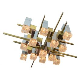 Large Sciolari Chandelier in Brass, Chrome and Glass