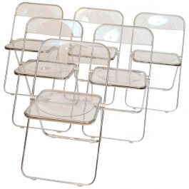 Plia Folding Lucite and Chrome Chairs, 1967