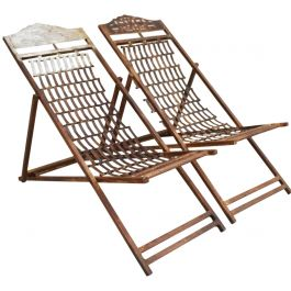 Two Pairs of 1920's Iron English Steamer Ship Deckchairs