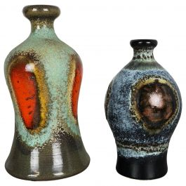 Set of 2 Super Rare Ceramic Pottery Vases by Dümmler and Breiden, Germany, 1950s