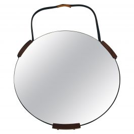 Italian Round Wooden Hanging Wall Mirror, 1960s, Italy