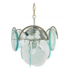 Midcentury Three-Tier Chrome and Glass Chandelier by Vistosi, 1960s