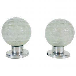 Frosted Iceglass and Chrome Table Lamps by Doria Leuchten, 1970s, Set