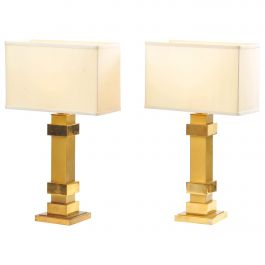 1970s Pair of Brass Angular Table Lamps by Maison Charles