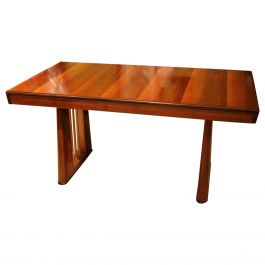 Italian Art Deco Rectangular Walnut and Maple Wood Writing Desk or Console Table
