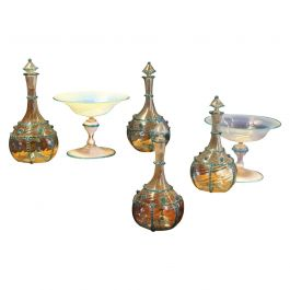 18th Century Italian Murano Transparent and Blue Art Glass Bottles and Bowls