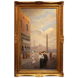 Venice Landscape Oil on Canvas Painting in Giltwood Frame, Italy, Belle Époque