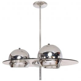 Mid-Century Modern Acrylic and Chrome Pendant Light