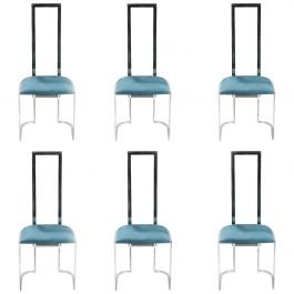 Set of 6 Midcentury Italian Lucite and Metal Green Chairs, 1970s