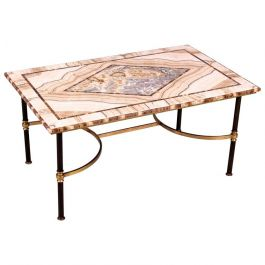 Fine Alabaster Stone and Brass Low Table