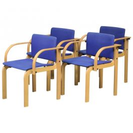 1980s Set of Four Stackable Beech Dining Chairs by Friis and Moltke