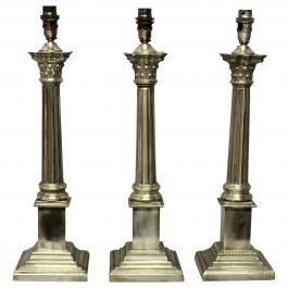 Set of Three Silver Plated Corinthian Column Lamps
