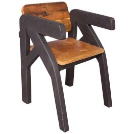 French Artisan Made Chair One of a Kind Late 20th Century Brutalist Folk Art