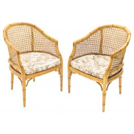 Mid-Century Modern French Riviera Cane Bamboo Armchairs, 1960s