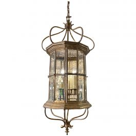 Large French Antique Nickel-Plated Lantern