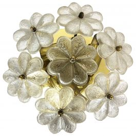 Large Floral Glass and Brass Ceiling Wall Light, Ernst Palme Palwa 1970s Germany
