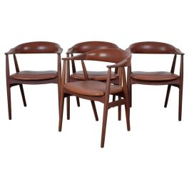 Set of Four Beautiful Armchairs Danish Design by Farstrup