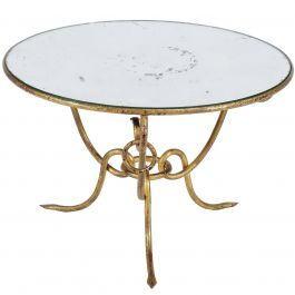 Hollywood Regency Gilt Iron Table Mirrored Top René Drouet, circa 1950s