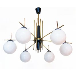 Large Italian 1950s Globe Chandelier by Stilnovo