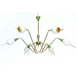 Angular 1950s Italian Chandelier by Arredoluce