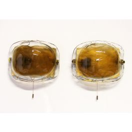 Two Amber Wall Lights in Murano Glass by Kaiser Leuchten
