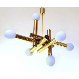 Sculptural 1970s Space Age Chandelier in Brass & Glass by Gaetano Sciolari