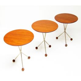 Set of Three Swedish '50s Atomic Tables By Albert Larsson