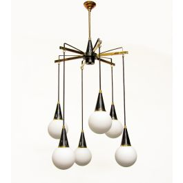 Large Italian 1950s Pendant Chandelier by Stilnovo