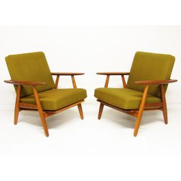 Two 1960s GE-240 Cigar Chairs by Hans Wegner