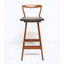 1960s Bar Stool In Teak & Leather By Rosengren Hansen