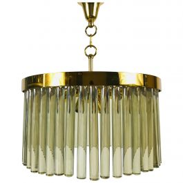1 of 2 Golden Gilded Brass and Crystal Glass Chandelier by Christoph Palme, 1960