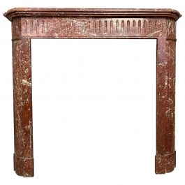 Antique French Louis XVI Style Fireplace Mantel in Rouge De Saint Pons Marble