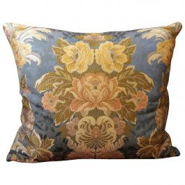 Italian Decorative Throw Pillows with Floral Pattern Cotton Brocade Fabric