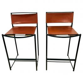 Pair of Natural Leather Barstools by G. Belotti for Alias, 1970s, Italy