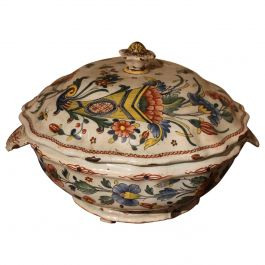 Antique French Faience Lidded Bowl Tureen Hand Painted with Flowers and Insects