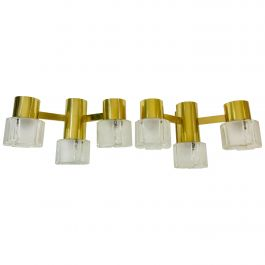 Swedish Midcentury Pair of Brass and Glass Wall Lamps, 1960s
