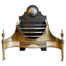 Large Reproduction Georgian Style Brass Fire Grate