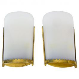 Huge Pair of Mid-Century Modern Brass and Perspex Cinema Wall Lamps, 1950s