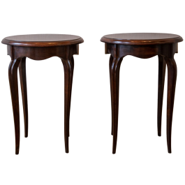 A pair of rosewood side tables