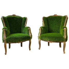 Pair of French Bergere Louis XV Style Chairs Re-Upholstered in Faux Grass