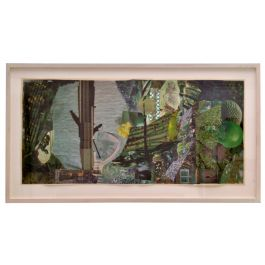 Abstract Collage Art in tones of Green by Bill Allan