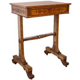 A late Regency single-drawer inlaid occasional table